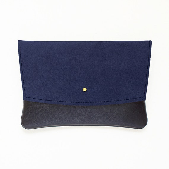 Navy Envelope Clutch, Suede and Black Leather Minimal Clutch, Evening Clutch, Leather Wedding Clutch, Leather Envelope Clutch, Bridal Clutch