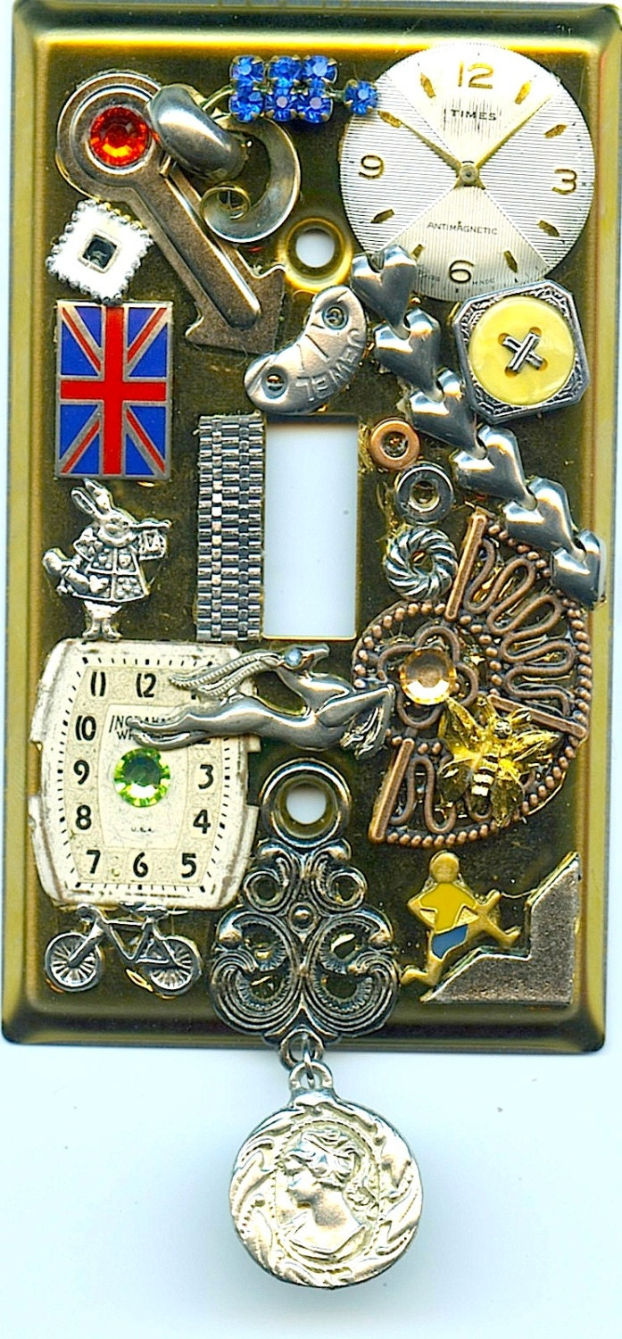 Steampunk Style Light Switch Cover With British Flag And