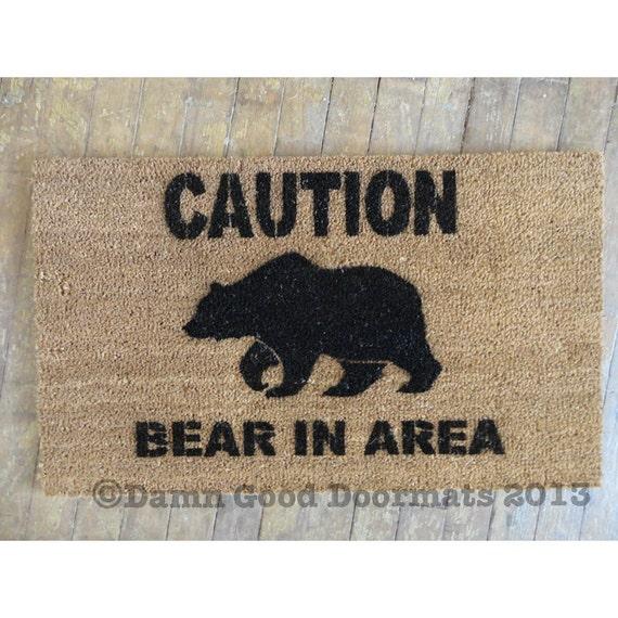 Caution Bear In Area Doormat Door Mat By Damngooddoormats
