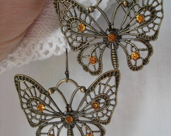 SALE Butterfly Medicine Totem Vintage Topaz Rhinestone Antiqued Gold Earrings