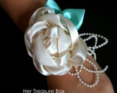 Wrist Corsage - Cream Vintage rose with Pearls and Mustard Grosgrain strap