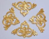 Rose Gold MEDIALLIONS set of 4 CORNERS embossed Dresden Victorian Scrap Art
