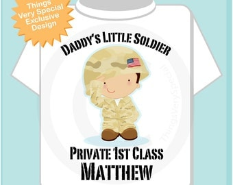Personalized Daddy's Little Soldier Boy Private 1st Class with your child's name on a Tee shirt or Onesie (08262013b)