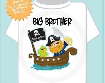 Big Brother Pirate Shirt Personalized Pirate Shirt or Onesie with Your Child's Name (08232012a3)