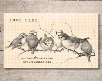 Business Cards - Custom Business Cards - Jewelry Cards - Earring Cards - Display Cards - Vintage Birds in Branch - No. 48