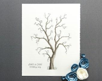 Winter WEDDING GUEST BOOK Tree Customizable Original Painting Thumbprint Tree medium