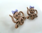 Earrings Mix and Match Collection Matching Set  Cute Octopus Twins Choose Dangle or Post Style