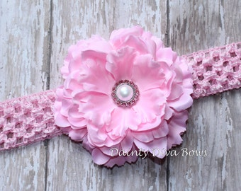 Baby Pink Ruffled Peony Flower on Pink Crochet Headband, Baby Headband, Newborn Headband, Toddler Headband, Girls Headband, Photo Prop