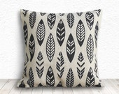 Throw Pillows, Black Pillow Cover, Pillow Covers, Tribal Pillow Cover, Decorative Throw Pillows,18x18 - Printed Feathers - 119
