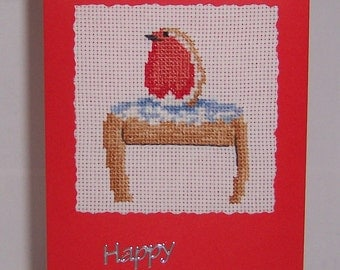 Robin Completed Cross Stitch Christmas  Card, Hand Stitched  Card, Hand made Greeting Card, Christmas Robin card