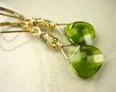 Swarovski Crystal olive green gold fill dangle Earrings Teardrop Faceted Fern green