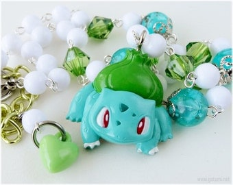 Pokemon Necklace, Bulbasaur Pendant, Beaded Rosary Chain - Gamer, Kawaii Jewelry