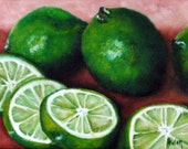 Lime Slices - Original Oil Painting on 6x8 Wrapped Canvas