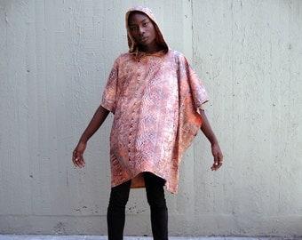 Avant Garde Poncho Cape Cloak with Hood - Ombre Hieroglyphs
