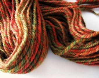 Handspun wool yarn - gift for knitters - hand spun worsted weight yarn - Autumn yarn 3 ply yarn - knitting supplies - red, gold, green