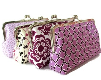 Set of Four Clutches , Wedding Party Purses, Custom Personalized Bridesmaid Gift Purses Bags