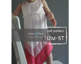 Chevron Dress pattern and tutorial PDF 12m-5t easy sew long tank dress tunic
