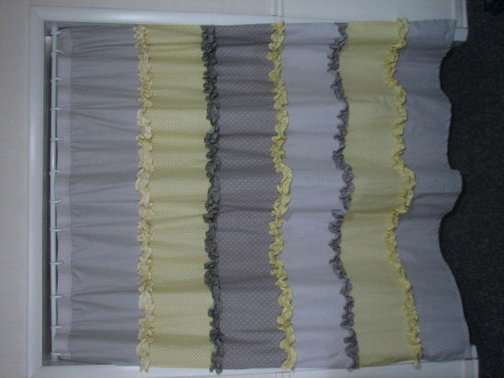 yellow and gray ruffled shower curtain by positivelybiased on etsy. Black Bedroom Furniture Sets. Home Design Ideas