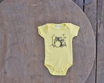 Drum Set Design Hipster Unisex Onesie in Lemon Yellow American Apparel / Unisex Baby Gift