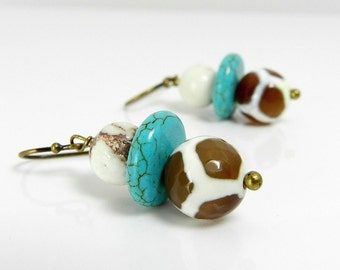 Turquoise Earrings, Giraffe Print, African Jewelry, Aqua & Brown, Multicolored Earrings,Tribal, Earthy,  Exotic,  Drop Earrings