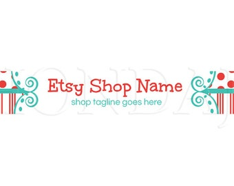 Etsy Shop Banner - Etsy Banners - Colorful Etsy Banners - Fun 20b  - Red White and Blue Etsy Banner