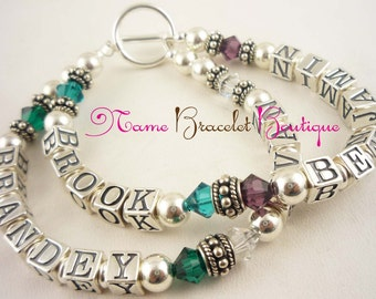 Mothers Bracelet -Crystal and sterling silver - choose your birthstones/ number of strands and names