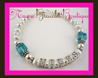 Mothers Bracelet- blue zicon beveled cube crystals - Mother Name Grandma Sterling Silver Mother's Personalized Mom Birthstone swarovski