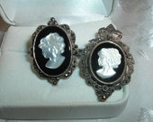 Vintage  Ring & Pendant / Brooch 925 Sterling Silver HC MOP Shell Cameo Onyx  Marcasite