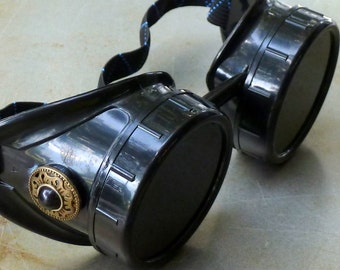 Steampunk Goggles Airship Captain Apocalyptic Mad Scientist Victorian Limited GGG-black
