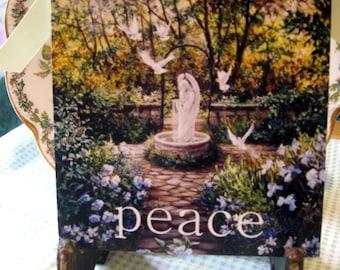 Angel Art, Angel Print, Peace Print, Angel of Peace, Inspirational Garden Print, Garden Decor