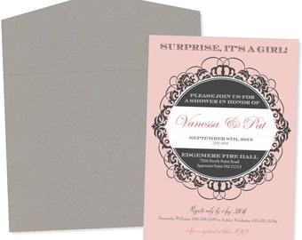 White Pink & Grey Royal Princess - Baby Shower Invitation - 30 Suites