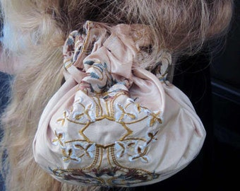 OOAK handbag purse drawstring pouch bag backpack recycled taffeta embroidered wedding party taffeta embroidered evening prom