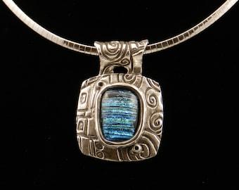 Empress-Handmade Precious Metal Clay .999 fine silver pendant with blue (multi-tone) dichroic glass cabochon, original, one of a kind.