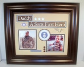 Daddy Father Son-Daughter Photo Mat - A Son's-Daughter's First Hero Military Theme - Unframed 11x14 Insert - Choose Military Branch