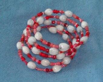 Handmade Hawaiian Job's Tears bracelet with red seed beads