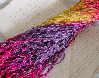 NeW Hand Dyed Ribbon - RAPUNZEL frosted edge ribbon, 5 yards