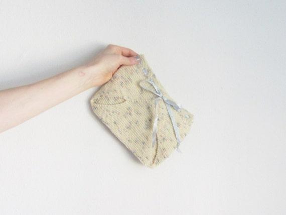 1940 hand knit diaper cover . pale cream blue ribbon .baby size .sale s a l e
