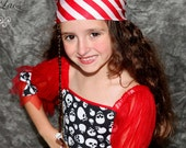 Red and white striped  pirate headscarf