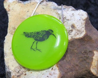 Vibrant Lime Green Sandpiper Bird fused decal glass pendant