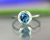 London Blue Topaz Sterling Silver Ring, Gemstone Ring, Halo Ring, In No Nickel / Nickel Free - Made To Order