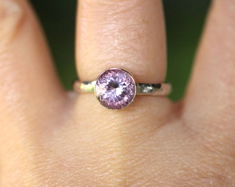 Rose De France Pink Amethyst Sterling Silver and 14K Gold Ring, Gemstone Ring, Stacking Ring, In Portuguese Cut - Made to Order