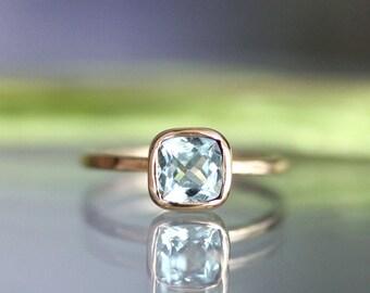 Aquamarine 14K Gold Ring, Engagement Ring, Gemstone Ring, Aquamarine Engagement Ring, Cushion Cut Ring, Stacking Ring - Made To Order
