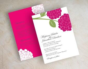 Fuchsia hydrangea wedding invitations, fuchsia wedding invitation, hydrangea wedding invite, fuchsia wedding invites, stationery, Hydrangea