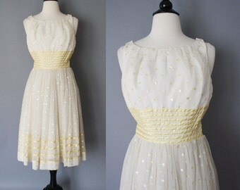 ON SALE 50s Dress / Vintage 1950s Party Dress / Kerrybrooke Cream and Yellow Gold Polka Dot Chiffon Full Skirt Prom Dress / Extra Small
