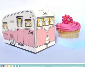 1950s RV Camper Trailer box, Caravan Box, cupcake box, gift card box, gift favor box -Pink - Instant Download D.I.Y. Printable PDF Kit