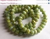 SALE SUMMER 12ct 6x8mm Czech Glass Seafoam Light Green Picasso Rondelle Beads
