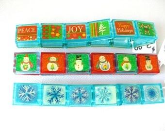 Holiday Stretch Bracelet - Penguin Bracelet, Snowflake Bracelet, Peace Joy Happy Holidays Bracelet - Christmas Jewelry - Acrylic - Stretch