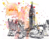 London England Cityscape Print From Original Watercolor Painting - 13x19 in. Print Abstract Landscape Watercolor Painting