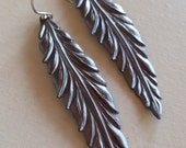 Pewter Feather (handmade pewter finish feather earrings)