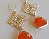 Pumpkin Spice Crochet Gold (handmade beaded earrings)